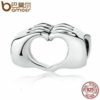 Bamoer Authentic 925 Sterling Silver Charm Hands with love Fit Bracelets Jewelry