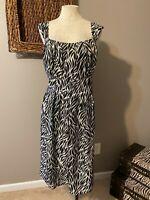 Suzi Chin Maggy Boutique Black White Print Silk Dress 18W 18 W