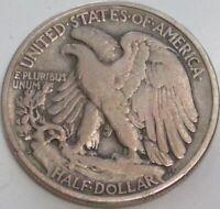 1938-D Walking Liberty Silver Half Dollar in a SAFLIP® - VF- (Fine+) Details