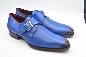Mezlan Flores Monk Leather Blue Shoes MEN'S SZ 9 M