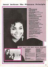JANET JACKSON Pleasure Principle lyrics magazine PHOTO/clipping 11x8 inches