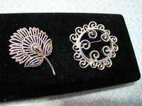 Vintage Jewelry Lot of 2 Brooch Pins Sarah Coventry & Trifari Silver Plate Metal