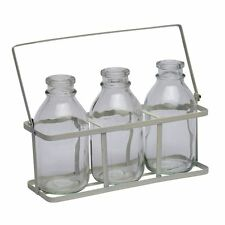 Set Of Three 3 School Milk Bottles In Crate Flower Bud Vase Drinking Shot Glass