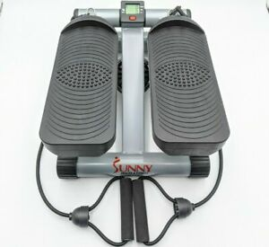 Sunny Health & Fitness Mini Stepper with Resistance Bands Workout Compact