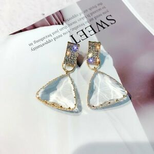 Fashion Transparent Crystal Geometric Earrings Stud Drop Dangle Charm Women Gift