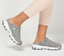Skechers D 'Lite Zapatos suecos Mujer Gris Sin Cordones Comodidad Sandalias de espuma de memoria 11940