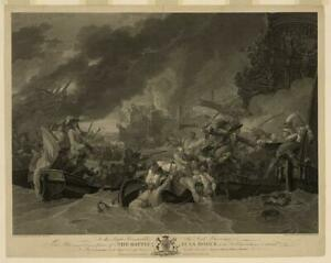 The Battle at La Hogue,Barfleur,France,English Channel,Combat in Row Boats 6214