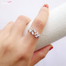 925 Sterling Silver Sparkling Crystal CZ Leaf Feather Ring UK M Bridal Party