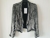 ZARA Metallic silver sequin tuxedo blazer open front coat jacket fully lined M