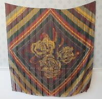 Vintage Large Salvatore Ferragamo Striped & Rose Floral Richly Colored Silk Scar