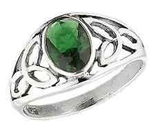 Sterling Silver Emerald Celtic Ring Size 8