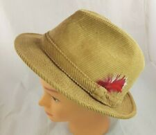 Beco VTG Tan Corduroy Fedora Feathered Hat Size L Trilby 100% Cotton