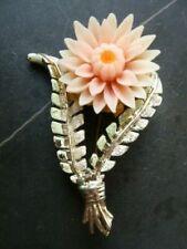 Vintage Enamel Celluloid Flower Brooch Signed Hollywood