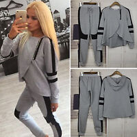 Womens Hoodie Tracksuit Wrap Sweatshirt Tops Long Pants Set Sport Lounge Suits