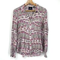 Size Medium Anthropologie Maeve Floral Purple Top Long Sleeve Button Up C135