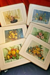 Set of 6 Quality Vintage Place Table Mats - English Country Flower Paintings