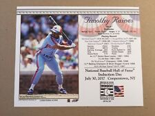 TIM RAINES MONTREAL EXPOS 2017 8X10 HALL OF FAME INDUCTION DAY CARD POSTMARKED