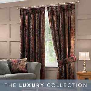 """Lined Pencil Pleat Curtains Pair Burgundy Belmont 46""""x72"""" NEW FREE P&P (V)"""