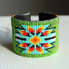 BR508 New Green Classic Guatemala Native Medallion Star Cuff Glass Bead Bracelet
