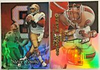 Two 1999 STEVE YOUNG Fleer San Francisco 49ers Quarterback Football Cards