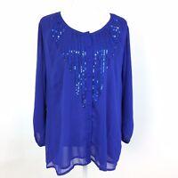 Bob Mackie Wearable Art Blue Blouse Sequin Button Front 3/4 Sleeve Women Size L