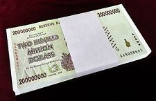 100 PCS ZIMBABWE ZIM 200 MILLION DOLLARS P81 UNC 2008 AA SERIES FULL BUNDLE