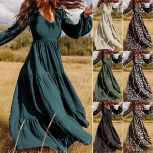 ZANZEA UK Women V-Neck Puff Sleeve Dress Back Zipper Patchwork Long Maxi Dresses