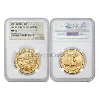 USA 1991 Great seal of California 1 oz Gold NGC MS69