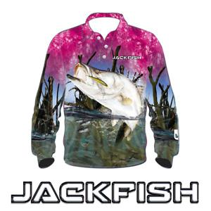JACKFISH Barramundi Fishing Shirt - PINK KIDS YOUTH UV SUN PROTECTION