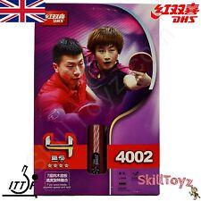 DHS 4 Star Table Tennis Bat R4002 Shakehand Grip Racket +2 FREE Protectors UK