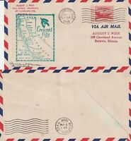 US 1948 AM 76 FIRST FLIGHT FLOWN COVER CRESCENT CITY CALIF TO MEDFORD OREGON
