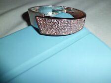 Silver And Rose Gold Tone White Austrian Crystal Hinged Bangle
