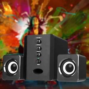 USB Wired 2.1 Computer Speakers + Subwoofer 3.5mm Jack for Desktop Laptop Black