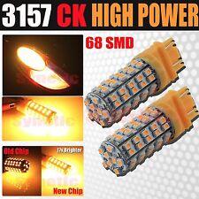 2x 3157 SRCK Socket 68 LED 3528 SMD Amber Yellow Parking Turn Signal Light Bulbs