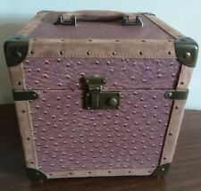 Unique Leather Travel Carry Suitecase Box Ostrish Lambskin? brass pink FREE Ship