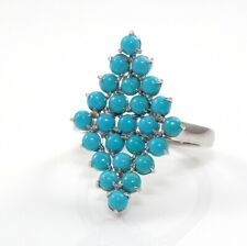 4.8gr of Sterling Silver & Blue Turquoise Bead V Angle Ring Size 11 ZP
