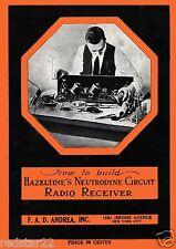 Hazeltines Neutrodyne Circuit Radio Receiver  VINTAGE w/ Radio Repair  Bonas