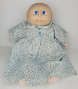 Vintage Doll Baby Bald Baby Blue White Dress Blue Eyes Dimples