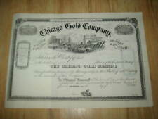 Old 1860's - CHICAGO GOLD - STOCK CERTIFICATE - Colorado MINE - MINING