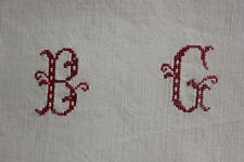 Vintage French linen sheet BG monogram LOVELY grey gray tone