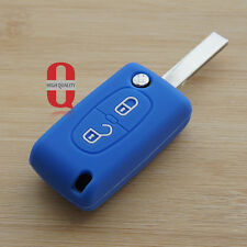 Blue silicone car key cover for Peugeot 206 208 207 3008 308 RCZ 508 408 2008
