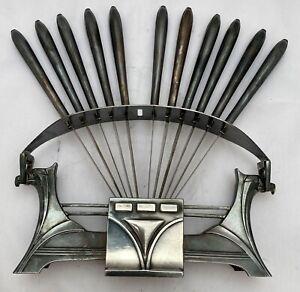 super set 11 wmf secessionist jugendstil silver plate fruit peelers and stand