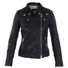 LEATHER JACKET WOMAN CHIODO DONNA GIACCA PELLE BULLY SIZE TAGLIA S/M BLACK NERO.