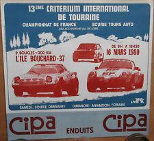 548 . CRITERIUM DE TOURAINE .1980. PORSCHE / LANCIA STRATOS / FIAT . 1 X AFFICHE