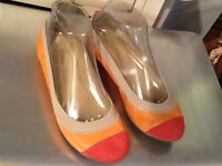 Women's 6.5 J.CREW Salmon color Leather PinkTextile Cap Toe Ballet Flats ITALY