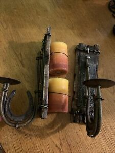 Set of 2 Rustic Western Style Wrought Iron/Resin Wall Pillar Candle Holders New