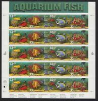 1999 Aquarium Fish 33¢ Sheet of 20 Sc 3317-20 3320a MNH