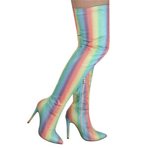 Women Over Knee Thigh High Boots Multicolor High Heels Point Shiny Glitter Shoes