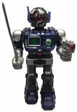 """VINTAGE Hap-P-Kid-Toy Robot Blue """" SUPER FIGHTER """" Walking Lights,Sound 1996"""