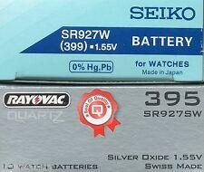 New SEIKO or RAYOVAC watch battery 395 SR92SW   399 SR92W silver oxide batteries